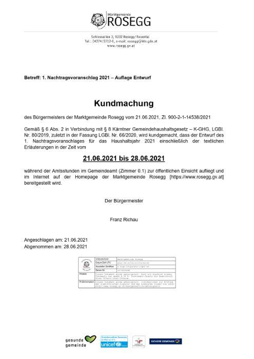 Kundmachung 1. Nachtragsvoranschlag 2021 - Auflage Entwurf