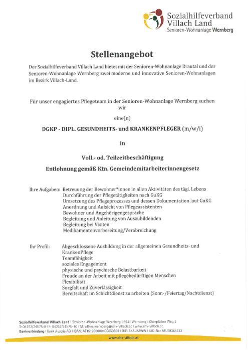 Stellenausschreibung für das Pflegeteam in der Senioren- Wohnanlage Wernberg