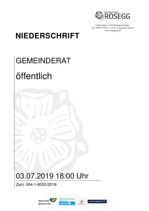 03.07.2019 Niederschrift Gemeinderat
