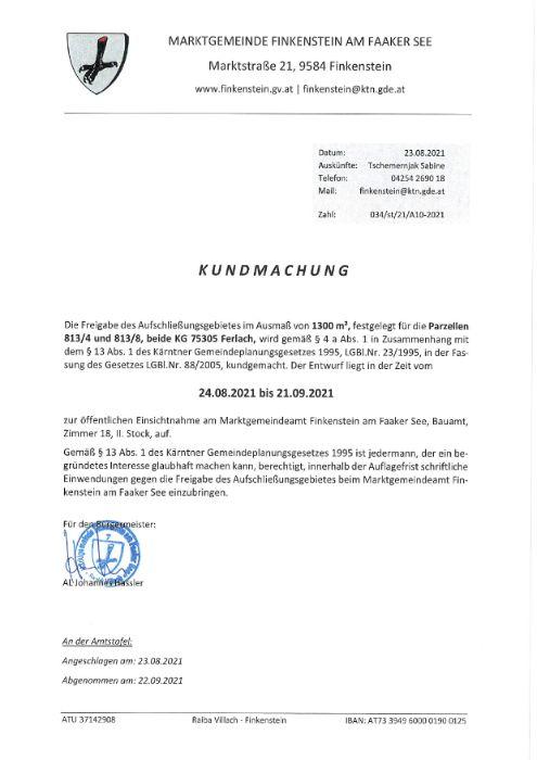 Kundmachung Freigabe Aufschließungsgebiet A10-2021 Parz. 813-4 und 813-8 KG 75305