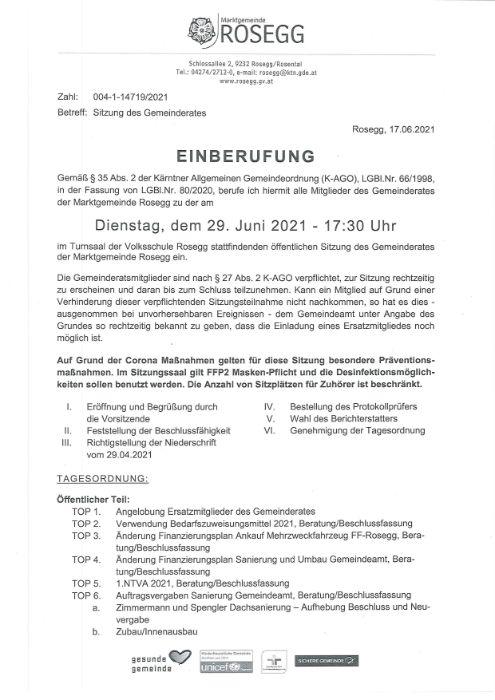 29. Juni 2021 Einberufung Sitzung des Gemeinderates