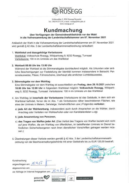 Kundmachung Verfügung der Gemeindewahlbehörde Vollversammlung der Landwirtschaftskammer am 07.11.21.