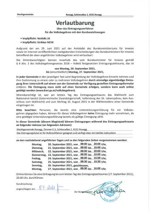 Verlautbarung über das Eintragungsverfahren für das Volksbegehren mit den Kurzbezeichnungen