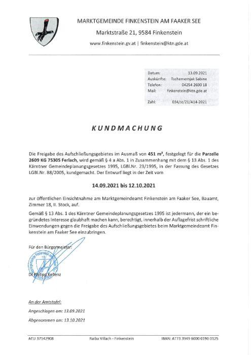 Marktgemeinde Finkenstein Freigabe Aufschließungsgebiet A14-2021