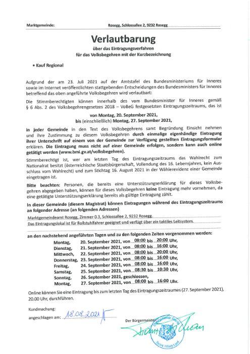 Verlautbarung über das Eintragungsverfahren für das Volksbegehren ''Kauf Regional''