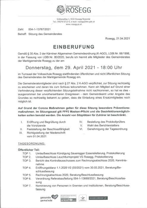 29. April 2021 Einberufung Sitzung des Gemeinderates