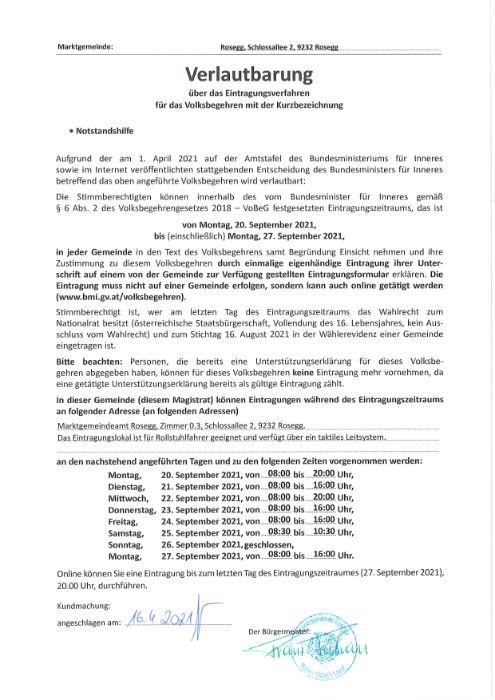 Verlautbarung über das Eintragungsverfahren für das Volksbegehren mit der Kurzbez.