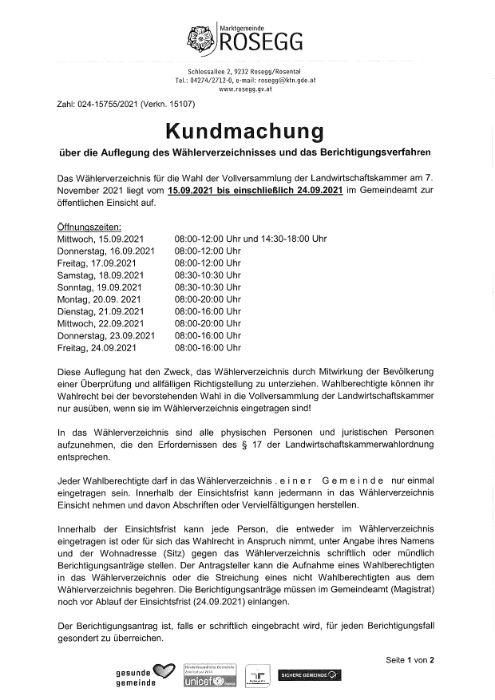 Kundmachung über die Auflegung des Wählerverzeichnisses und das Berichtigungsverfahren