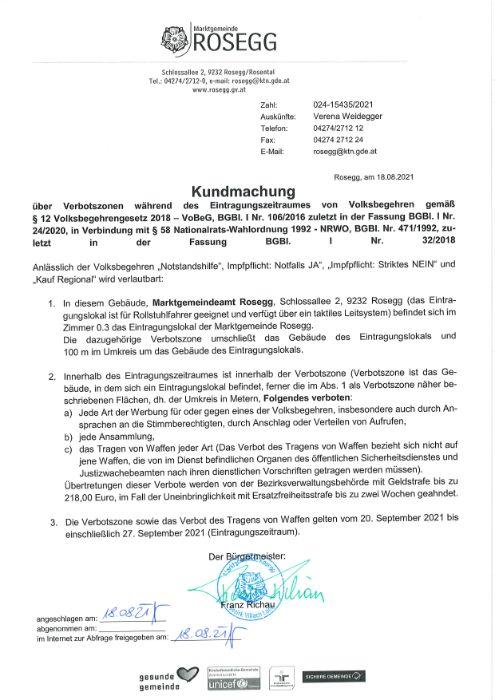 Kundmachung über Verbotszonen des Eintragungsverfahren von Volksbegehren
