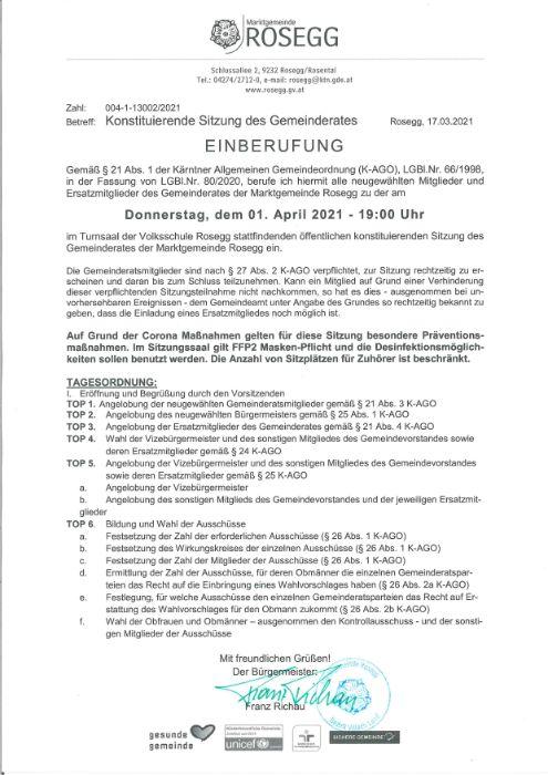 01.04.2021 Einberufung zur konstituierenden Sitzung des Gemeinderates