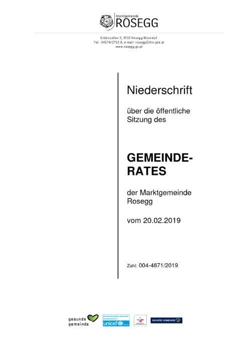 20.02.2019 Niederschrift Gemeinderat