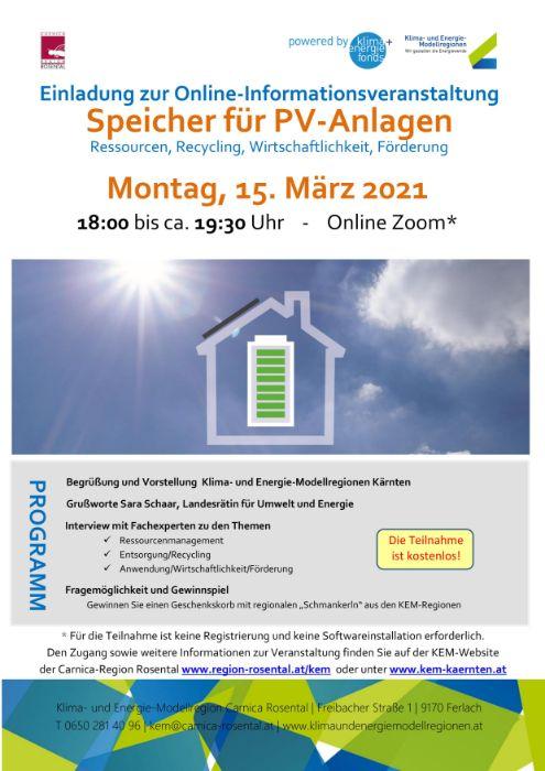 Einladung zur Online-Informationsveranstaltung Speicher für PV-Anlagen am Montag, den 15. März 2021