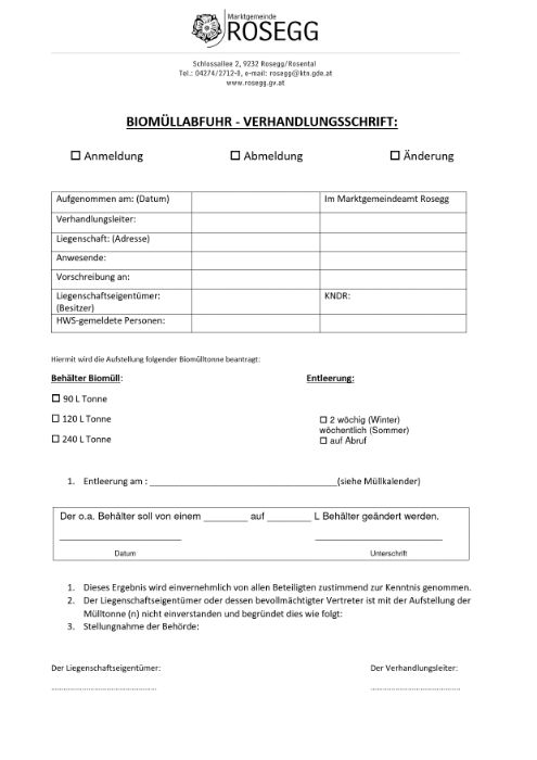 Biomüllabfuhr Formular