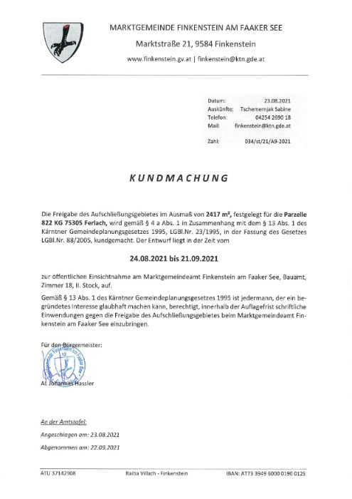 Kundmachung Freigabe Aufschließungsgebiet A9-2021 Parz. 822 KG 75305