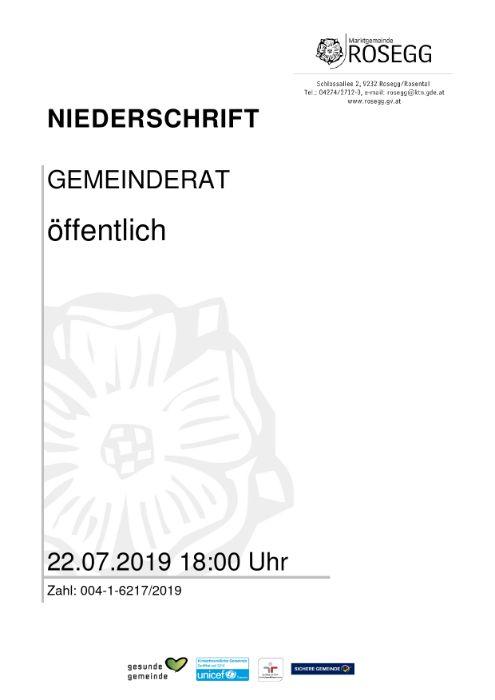 22.07.2019 Niederschrift Gemeinderat