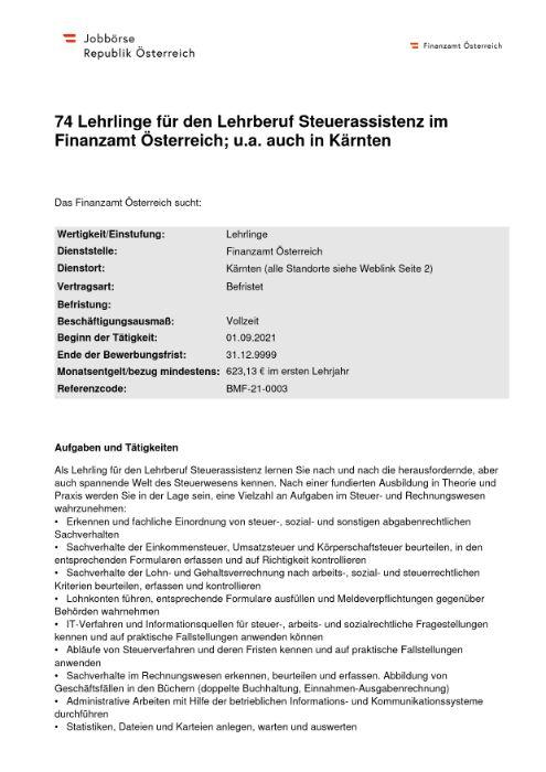 74 Lehrlinge für den Lehrberuf Steuerassistenz im Finanzamt Österreich; u.a. auch in Kärnten