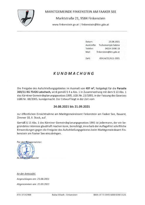Kundmachung Freigabe Aufschließungsgebiet A11-2021 Parz. 369-11 KG 75426