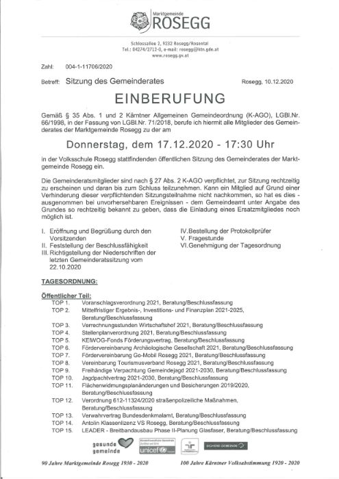 Einberufung Gemeinderatssitzung 2020.12.17