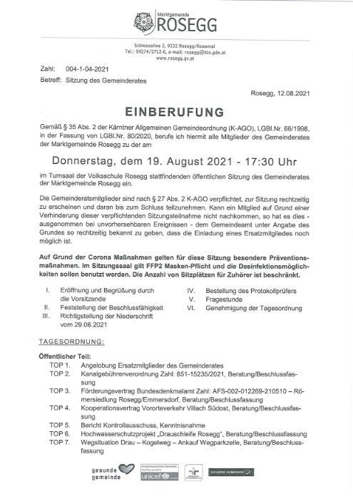 19. August 2021 Einberufung Sitzung des Gemeinderates