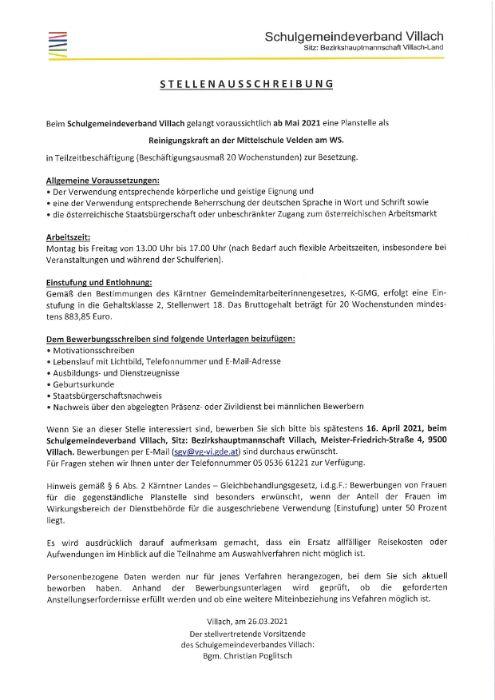 Stellenausschreibung MS Velden - Reinigungskraft