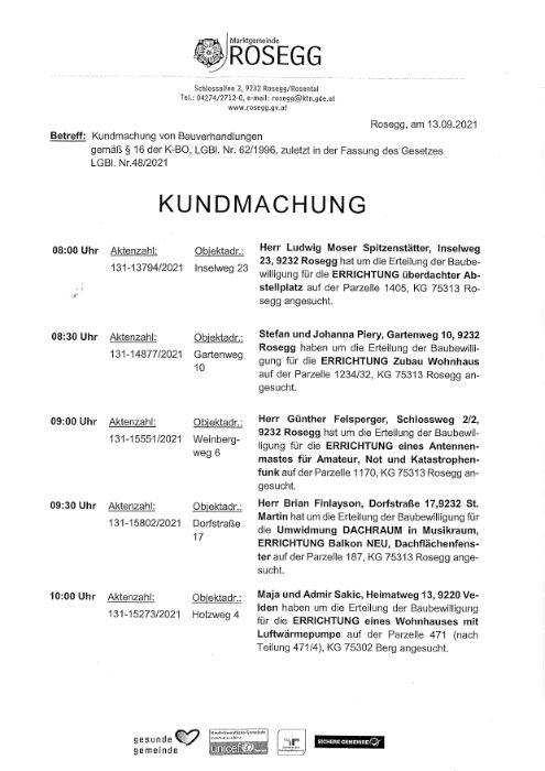 Kundmachung zum Bauverhandlungstermin am 28.09.2021