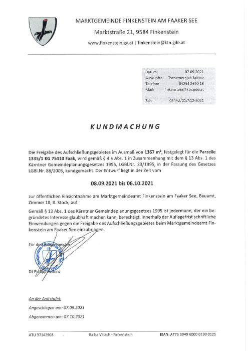 Marktgemeinde Finkenstein Freigabe Aufschließungsgebiet A12-2021