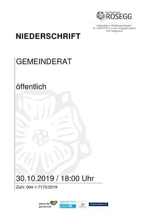 30.10.2019 Niederschrift Gemeinderat