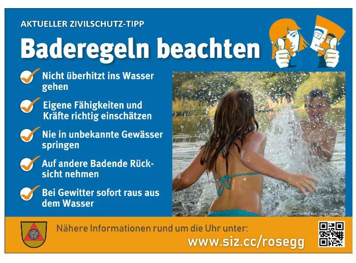 Gemeinde-Sicherheitstipp: Baderegeln beachten