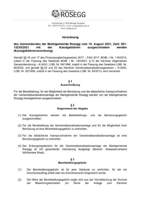 Verordnung  des Gemeinderates der Marktgemeinde Rosegg vom 19. August 2021, Zahl: 851-15235/2021
