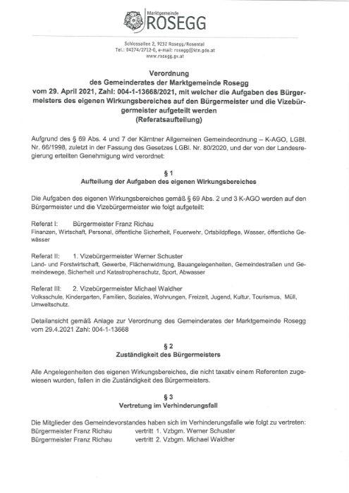 Verordnung des Gemeinderates vom 29. April 2021 Zahl: 004-1-136668/2021