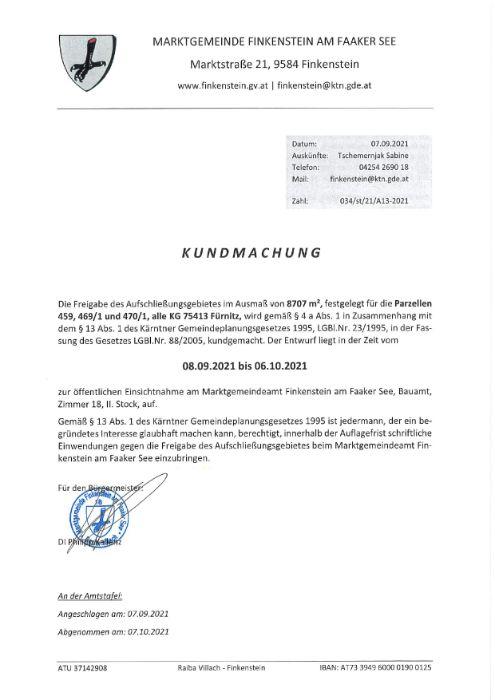 Marktgemeinde Finkenstein Freigabe Aufschließungsgebiet A13-2021