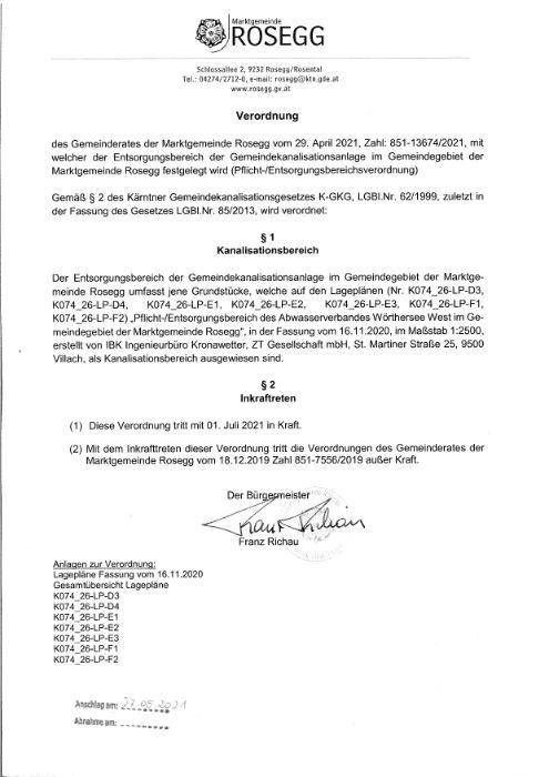 Verordnung des Gemeinderates vom 29. April 2021 Zahl: 851-13674/2021