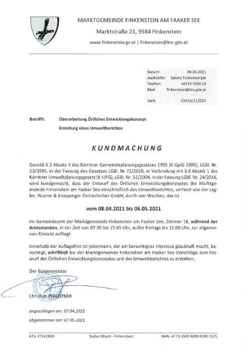 Kundmachung örtliches Entwicklungskonzept Marktgemeinde Finkenstein
