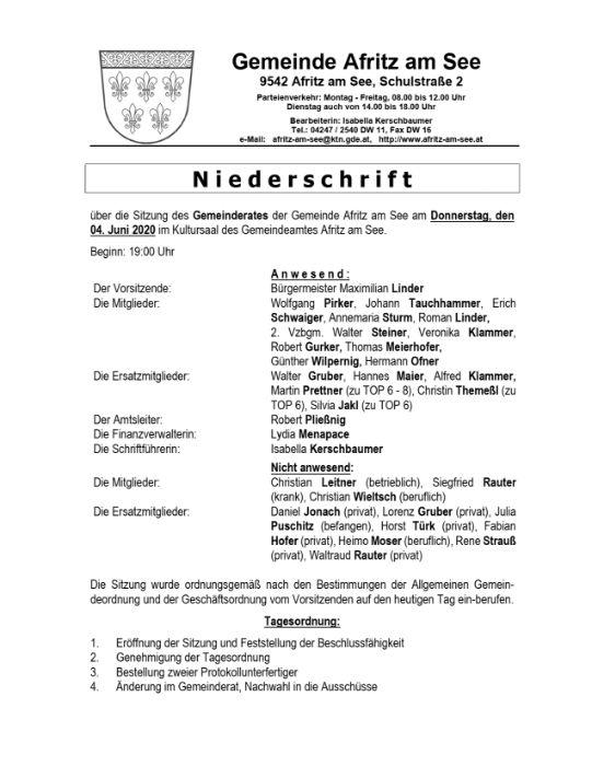 Niederschrift Gemeinderatssitzung 04.06.2020