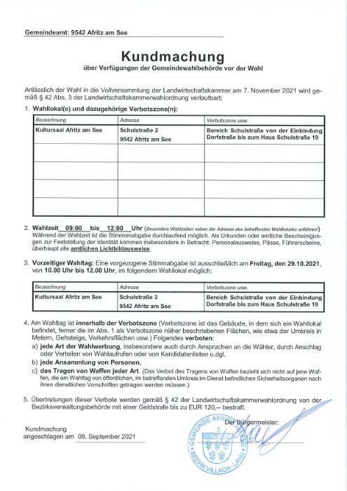 Landwirtschaftskammerwahl 2021 - Verfügung der Gemeindewahlbehörde