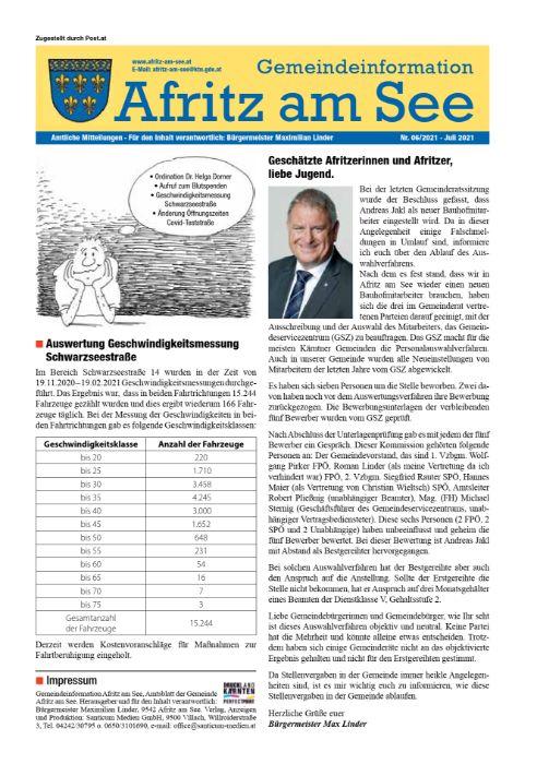 Gemeindeinformationsblatt Juli 2021