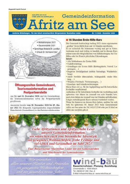 Gemeindeinformationsblatt Dezember 2020
