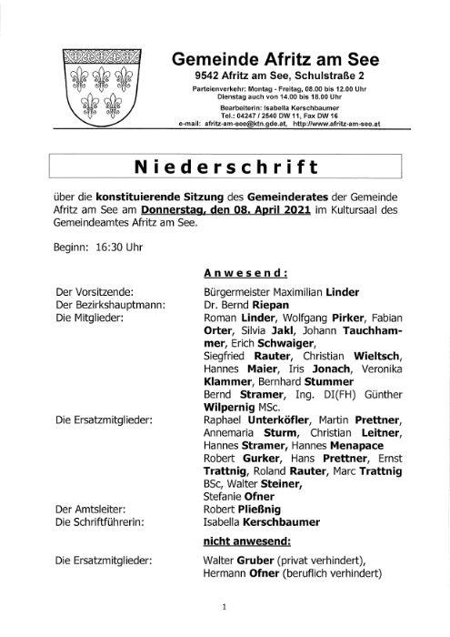Niederschrift konstituierende Gemeinderatssitzung 08.04.2021
