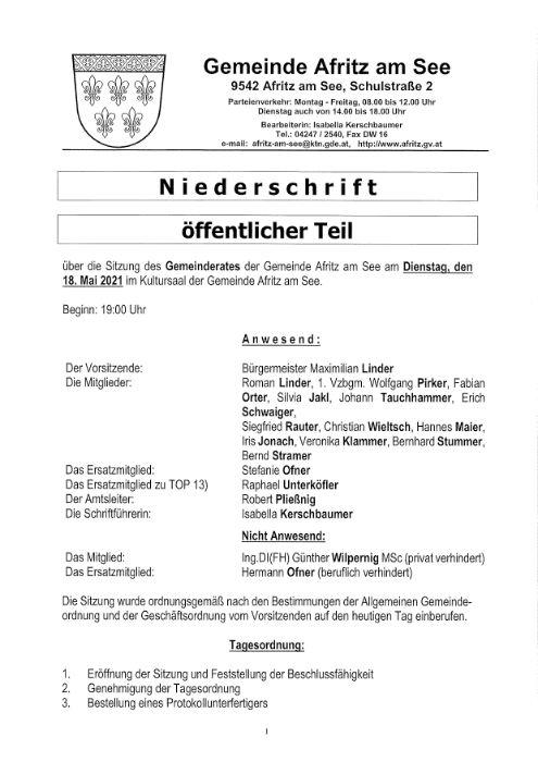Niederschrift Gemeinderatssitzung 18.05.2021