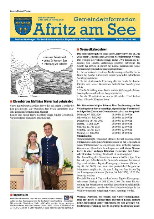 Gemeindeinformationsblatt Juli 2020