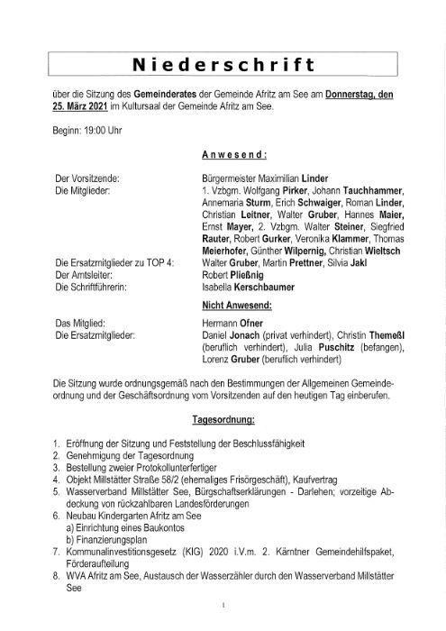 Niederschrift Gemeinderatssitzung 25.03.2021
