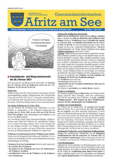 Gemeindeinformationsblatt Feber 2021