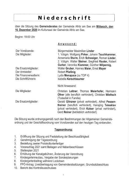 Niederschrift Gemeinderatssitzung 16.12.2020