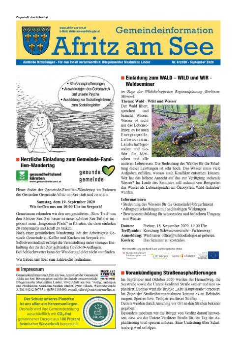 Gemeindeinformationsblatt September 2020