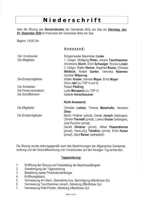 Niederschrift Gemeinderatssitzung 01.12.2020