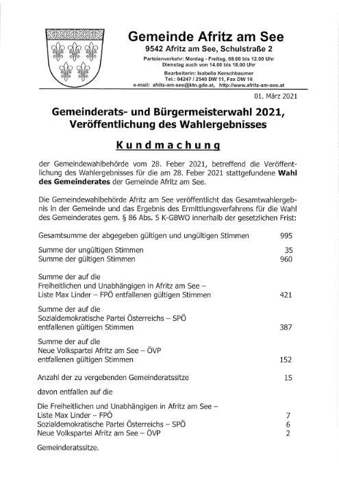 Kundmachung - Veröffentlichung des Wahlergebnisses zur Gemeinderatswahl 2021
