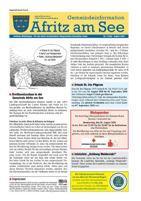 Gemeindeinformationsblatt August 2020