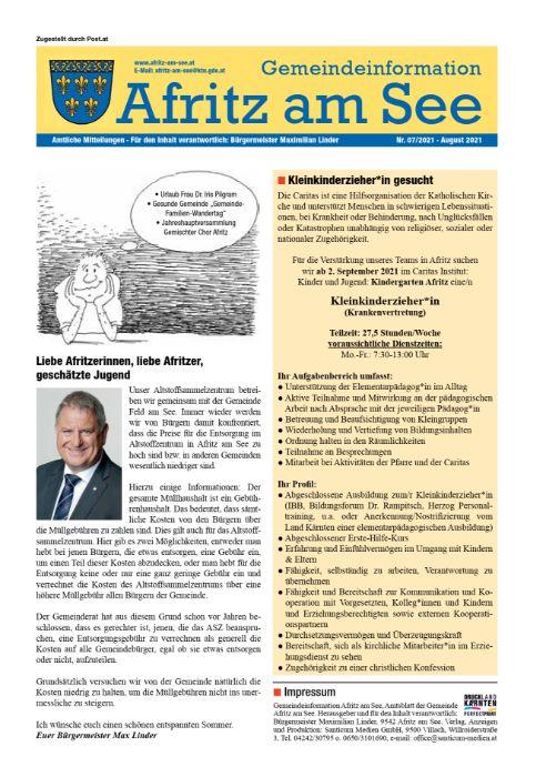 Gemeindeinformationsblatt August 2021